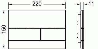 Clapeta de actionare in doua trepte, din sticla, placa neagra, butoane otel inox mat square TECE 1