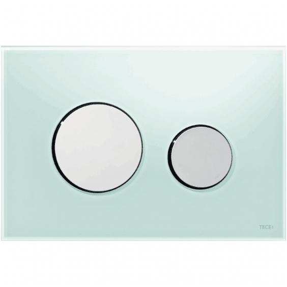 Clapeta de actionare in doua trepte, din sticla, verde, butoane cromate lucios loop TECE [0]