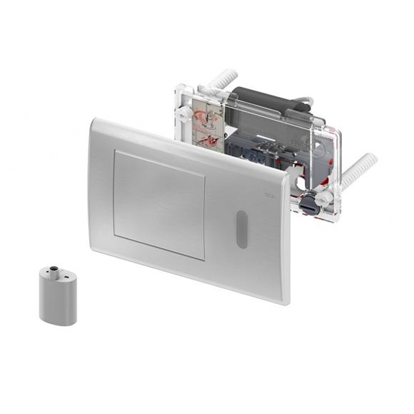 Clapeta electronica pentru sisteme tip wc cu senzor infrarosu si alimentare la baterie de 6v crom lucios 1