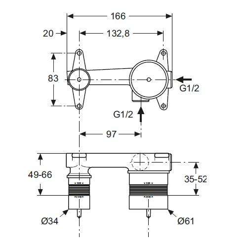Corp incastrat baterie lavoar Ideal Standard A5948NU [1]