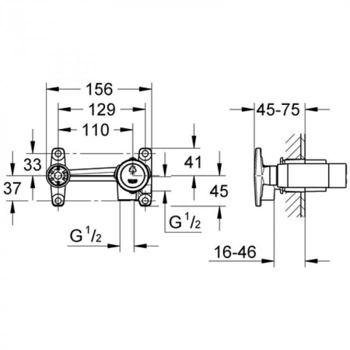 Corp incastrat baterie lavoar monocomanda 32635000 Grohe Quadra [1]