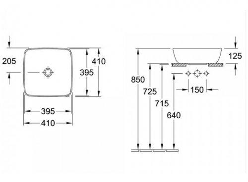 Lavoar pe blat 41x41 cm, patrat, Artis VILLEROY&BOCH 41784101 [3]
