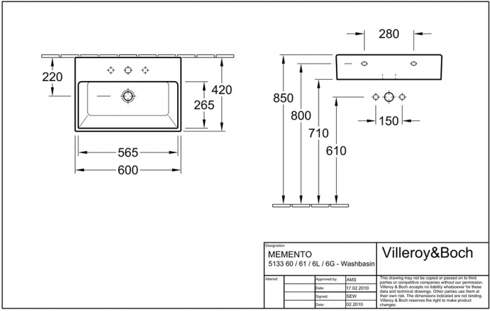 Lavoar Memento VILLEROY&BOCH 51336L01 2