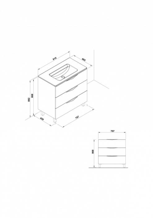 Mobilier Agata Gala trei sertare 79 cm gri [1]