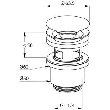 Push-open ventil de scurgere lavoar blocabil KLUDI g 1 1/4 1