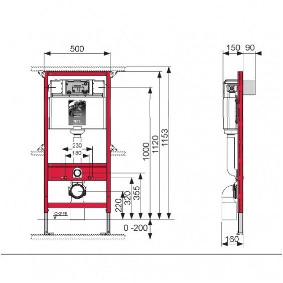 Rezervor incastrat wc cu cadru TECE standard,actionare frontala H1120mm 1