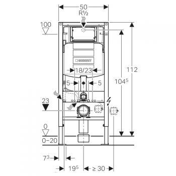 Rezervor ingropat Geberit Duofix Sigma UP320 de 12 cm grosime cu cadru si actionare frontala, H112 cm 1