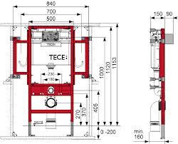 Rezervor ingropat wc cu cadru TECE actionare frontala. H = 1120 mm Gerontomodul 1