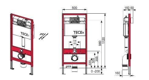 Rezervor ingropat Wc, cu cadru TECE BASE actionare frontala, H = 1120 mm cu clapeta si sistem fixare incluse 1