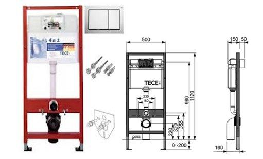 Rezervor ingropat wc cu cadru TECE BASE H 1120 mm cu clapeta sistem de fixare si izolare fonica incluse 0