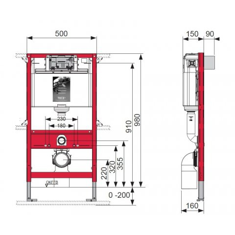 Rezervor ingropat wc, cu cadru TECE STANDARD,actionare frontala sau superioara. H = 980 mm 1