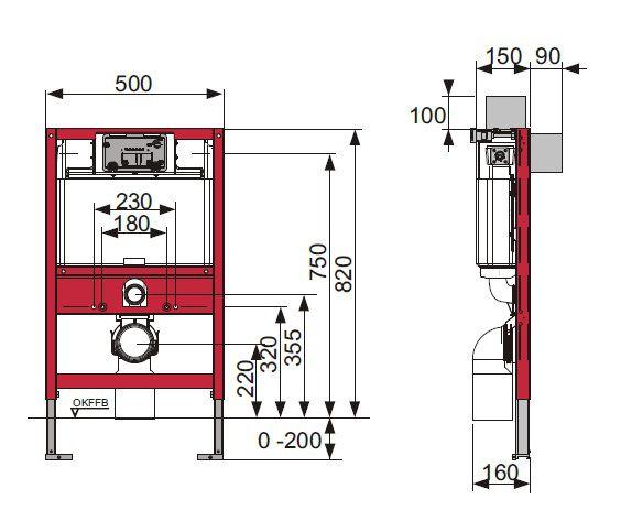 Rezervor ingropat Wc cu cadru TECE STANDARD si actionare frontala sau superioara . H = 820 mm [1]