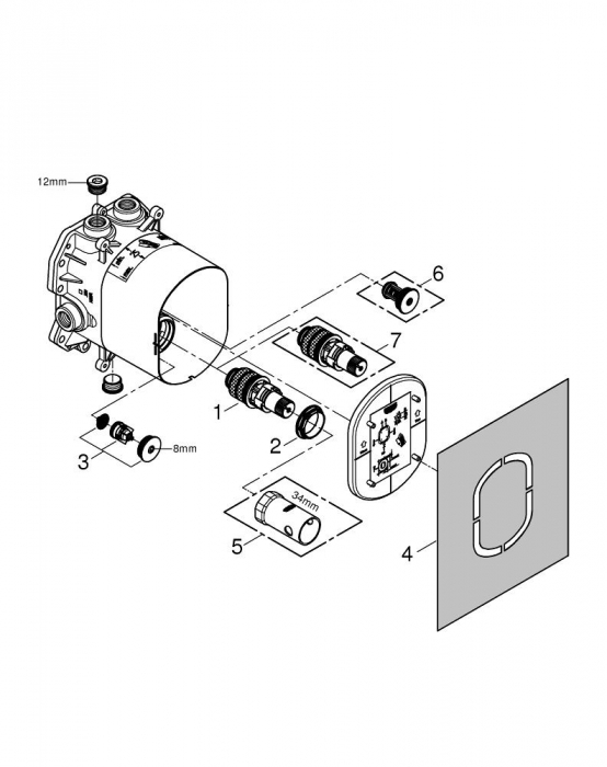 Set baterie duș termostatată + corp încastrat Grohe [4]