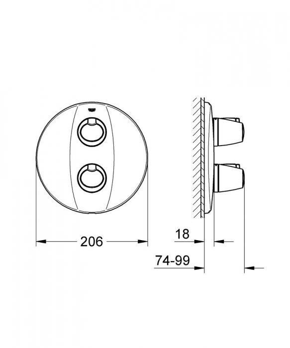 Set baterie duș termostatată + corp încastrat Grohe [2]