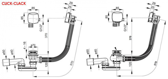 Sifon cada cu umplere prin preaplin II bowden RAVAK 1