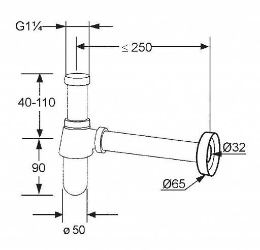 Sifon cu flansa KLUDI g 1 1/4*32mm 1