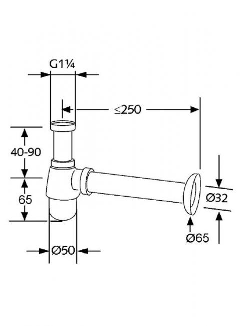 Sifon cu flansa KLUDI pentru bideu g 1 1/4 x 32mm 1