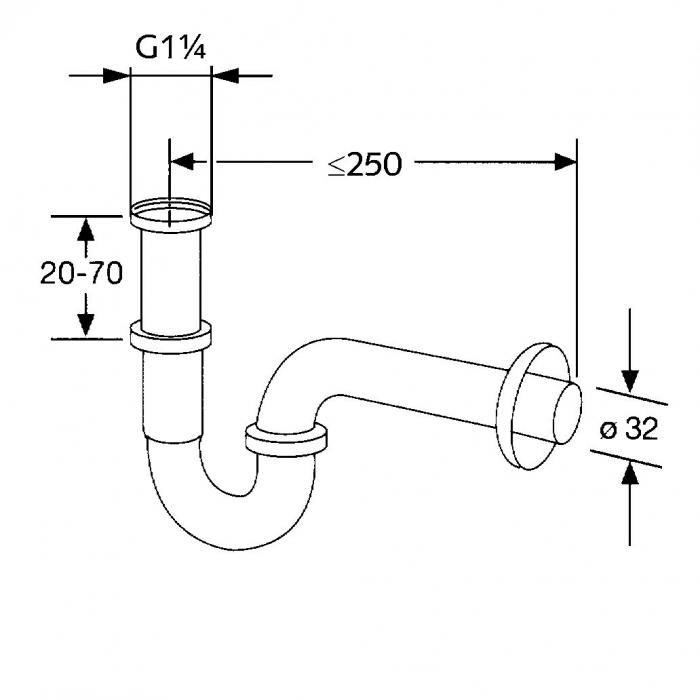 Sifon de scurgere tubular KLUDI g1 1/4*32mm, model standard 1