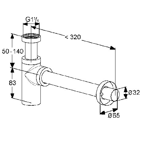 Sifon design KLUDI g 1 1/4 * 32mm 1