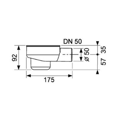 Sifon orizontal TECE drainline DN50, inaltime montaj 120mm 0,8l/s 1