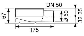 Sifon orizontal TECE drainline DN50, inaltime montaj 95mm 3