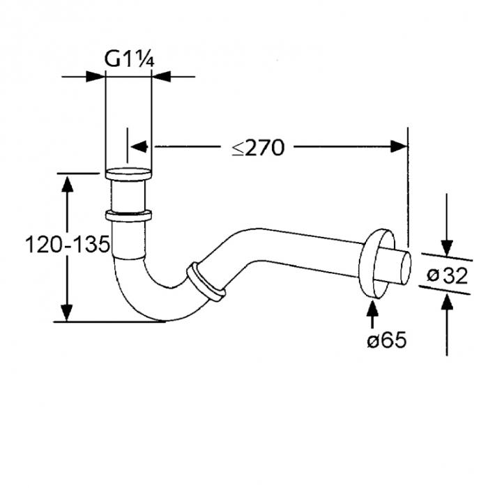 Sifon tubular KLUDI pentru bideu g 1 1/4 x 32mm 1