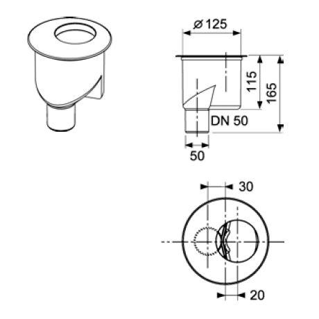 Sifon vertical TECE Drainline DN50, inaltime montaj 165mm [1]