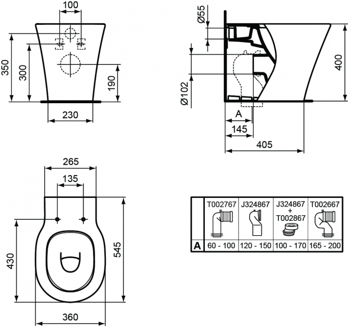 WC stativ Connect Air Ideal Standard E004201 1