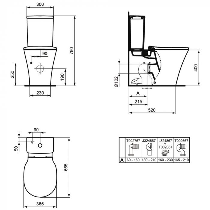 WC stativ Connect Air Ideal Standard E013701 1