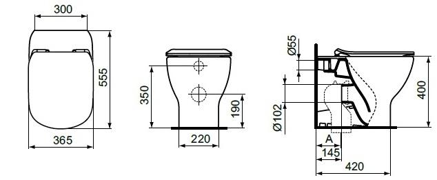 WC stativ Tesi BTW Ideal Standard T007701 [1]