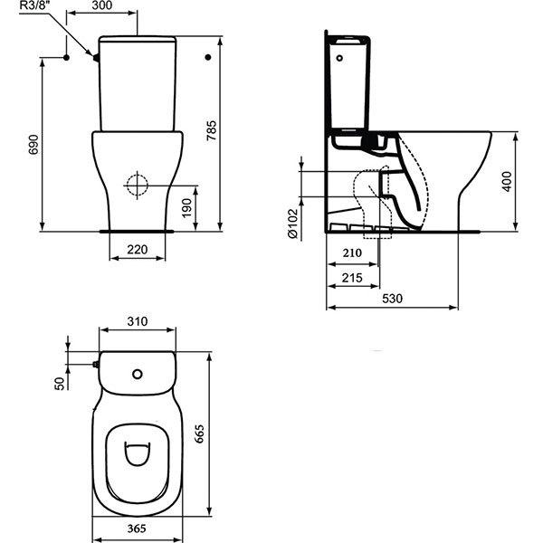WC stativ Tesi Ideal Standard T008201 1