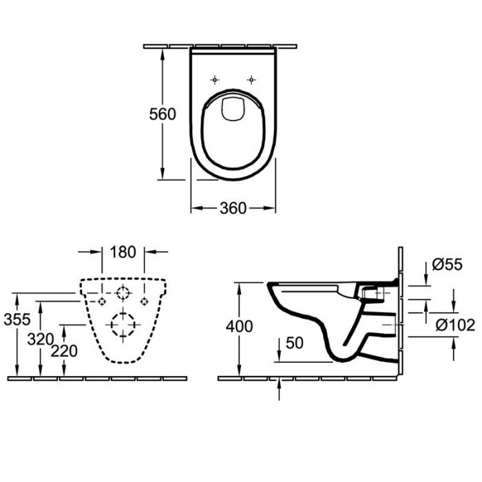 WC suspendat cu capac O.Novo 5660HR01 VILLEROY&BOCH Direct Flush Kombi 1