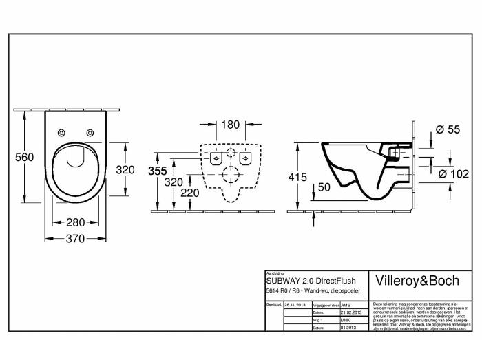 WC suspendat cu capac Subway 2.0  5614R201 VILLEROY&BOCH Direct Flush Kombi 1
