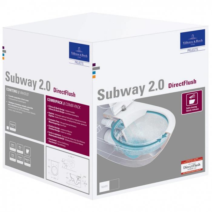 WC suspendat cu capac Subway 2.0  5614R201 VILLEROY&BOCH Direct Flush Kombi 0
