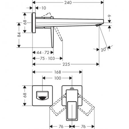 Baterie lavoar perete Metropol Hansgrohe cu pipă 22.5 cm [2]