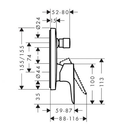 Baterie cadă /duș Talis E Hansgrohe încastrată cu diverter [5]