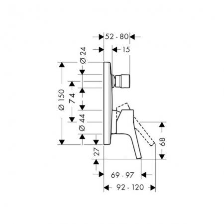 Baterie cadă/duș încastrată Talis S Hansgrohe cu 2 funcții [1]