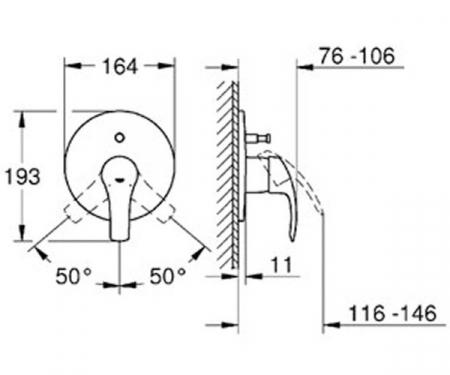 Baterie incastrata Corp si Set finish cada-dus Eurosmart 19450002 Grohe [1]