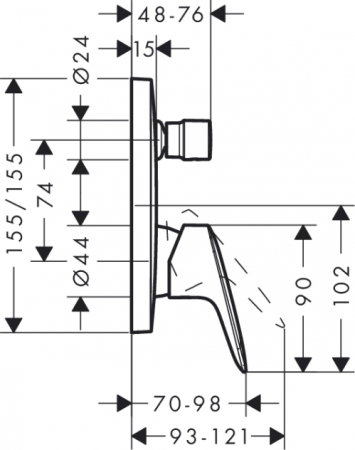 Baterie incastrata Set finish cada-dus Logis Hansgrohe1