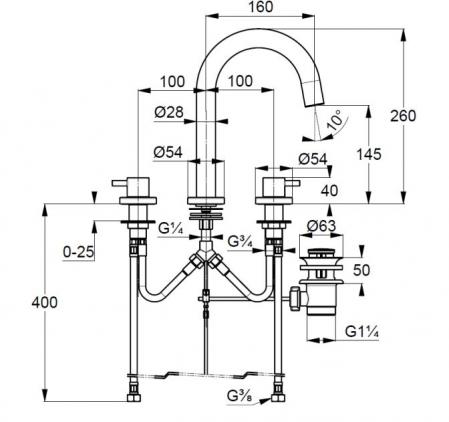 Baterie lavoar cu 3 gauri montare pe lavoar Kludi BOZZ [2]