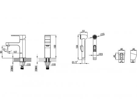 Baterie lavoar cu dus pentru bide fara ventil CR 112.00 Ravak [1]