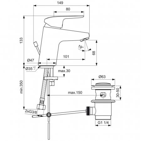 Baterie lavoar cu ventil Ceraflex Ideal Standard1