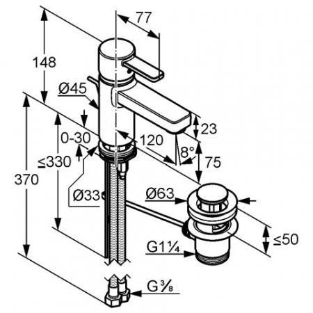 Baterie lavoar DN 10 KLUDI Zenta xl crom1