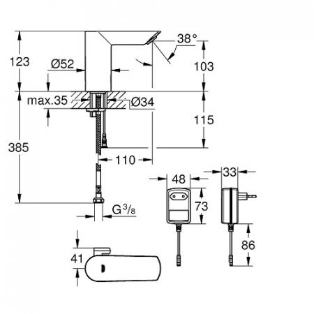 Baterie lavoar electronică Bau Cosmopolitan E Grohe cu senzor infraroșu și transformator [5]
