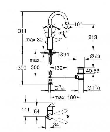 Baterie lavoar inalta 23537002 Eurosmart L-Size Grohe1