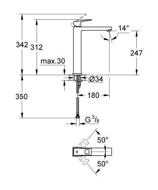 Baterie lavoar inalta monocomanda 23406000 Grohe Eurocube XL [2]