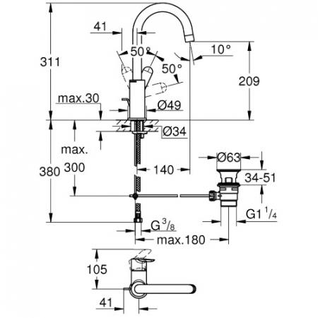 Baterie lavoar inalta monocomanda 23760000 Grohe Bauedge L1