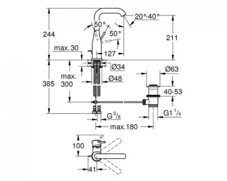 Baterie lavoar inalta monocomanda 32628001 Grohe Essence L [1]