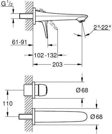 Baterie lavoar incastrata perete Set finish 19571ls3 Grohe Eurostyle M1