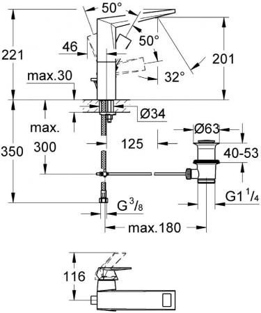 Baterie lavoar monocomanda 23109000 Grohe Allure Brilliant1